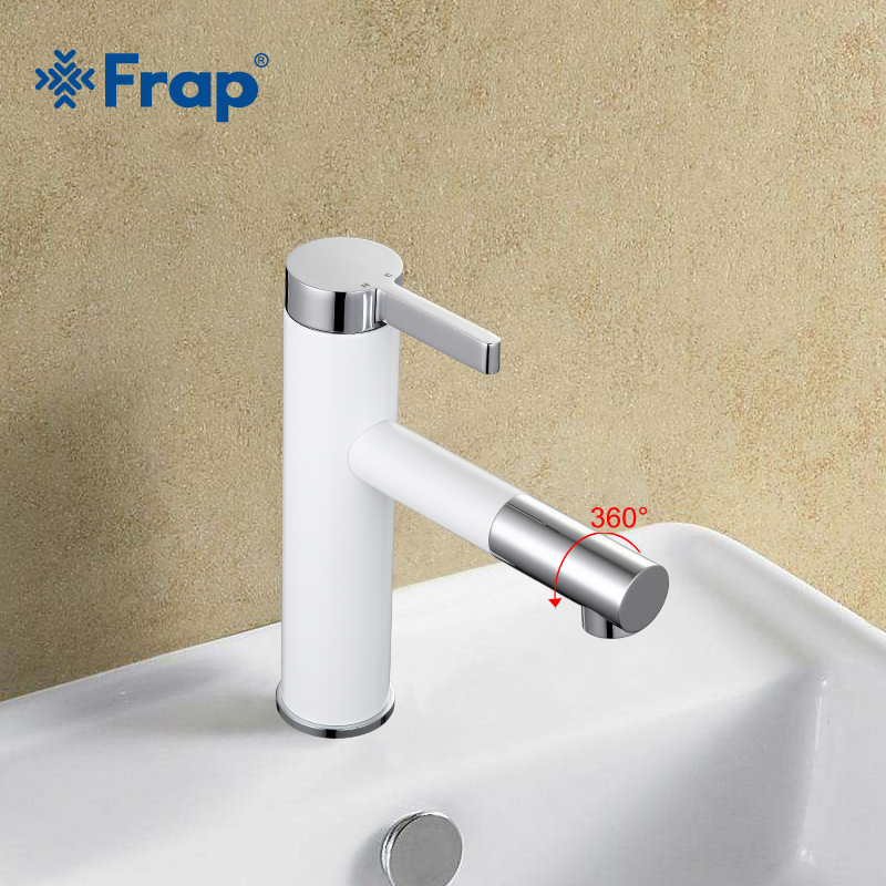 Frap Mixer Faucets 360 Rotating Bathroom Basin Faucet Spray Painting Cold-Hot Water Taps Deck Mounted Robinet Torneira FP1052-14