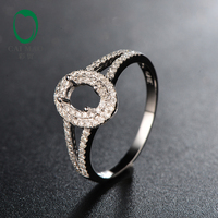 4x6mm Oval Cut 14K White Gold Semi Mount Engagement Pave Diamond Ring Setting For Anniverary