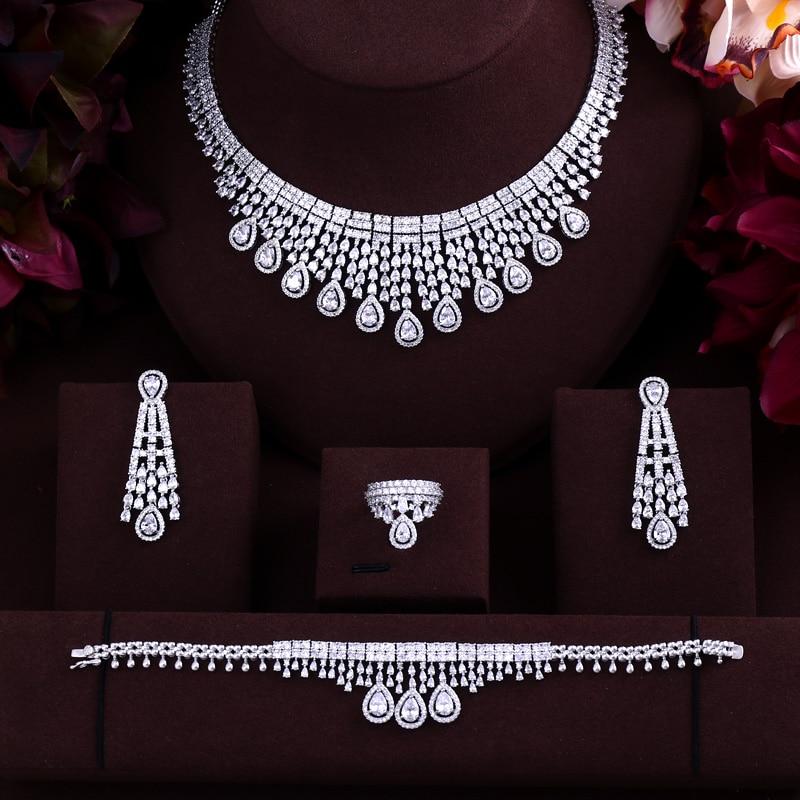 Luxury White Gold-plated Elegant Shape Bridal CZ necklace earring bracelet ring 4pcs Big Wedding Jewelry Sets For Bride