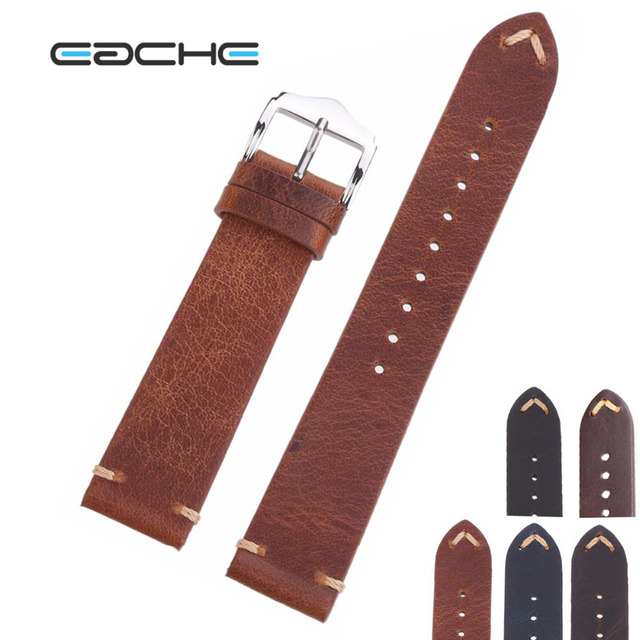 EACHE High Quality Oil Wax Design Leather Watchband Genuine Calfskin Leather Str