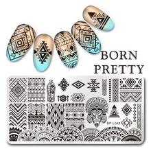 1Pc BORN PRETTY Rectangle Nail Stamping Template Negative Space Geo Flower Stamp Nail 12*6cm Nail Stamping Plate 10 Patterns