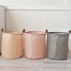 Folding Laundry Basket Cotton Linen Waterproof Storage Barrel Standing Clothing Storage Bucket Laundry Organizer Holder