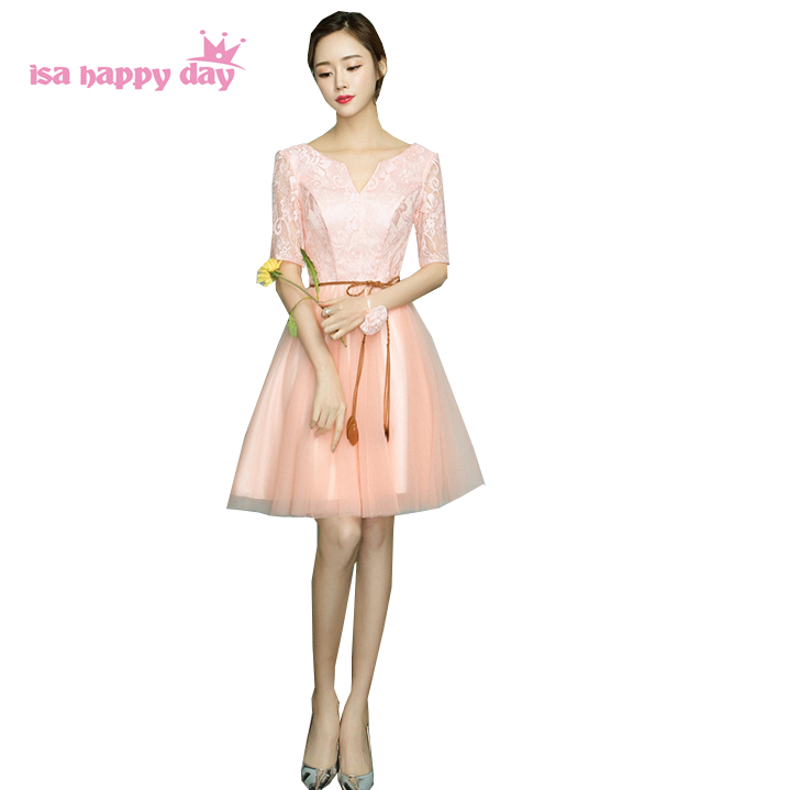 robe de soiree half sleeve lace top 2017 puffy women elegant winter peach prom dresses bow tiers tulle dress under 100 H4036