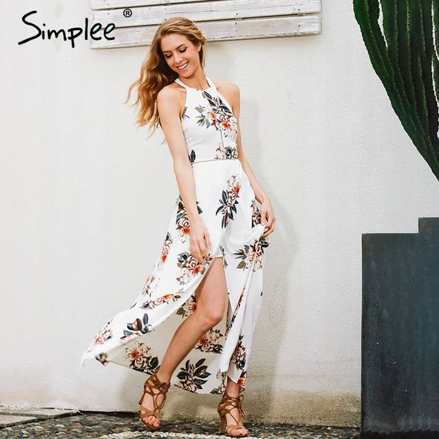 eff79ee76b73 Simplee Floral print halter chiffon long dress Women white split beach summer  dress Sexy backless maxi