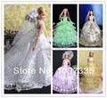 Маленькие девочки в подарок роскошный 10 шт. / lot ручной работы свадьба платье одежда ну вечеринку платье платье для barbie кукла