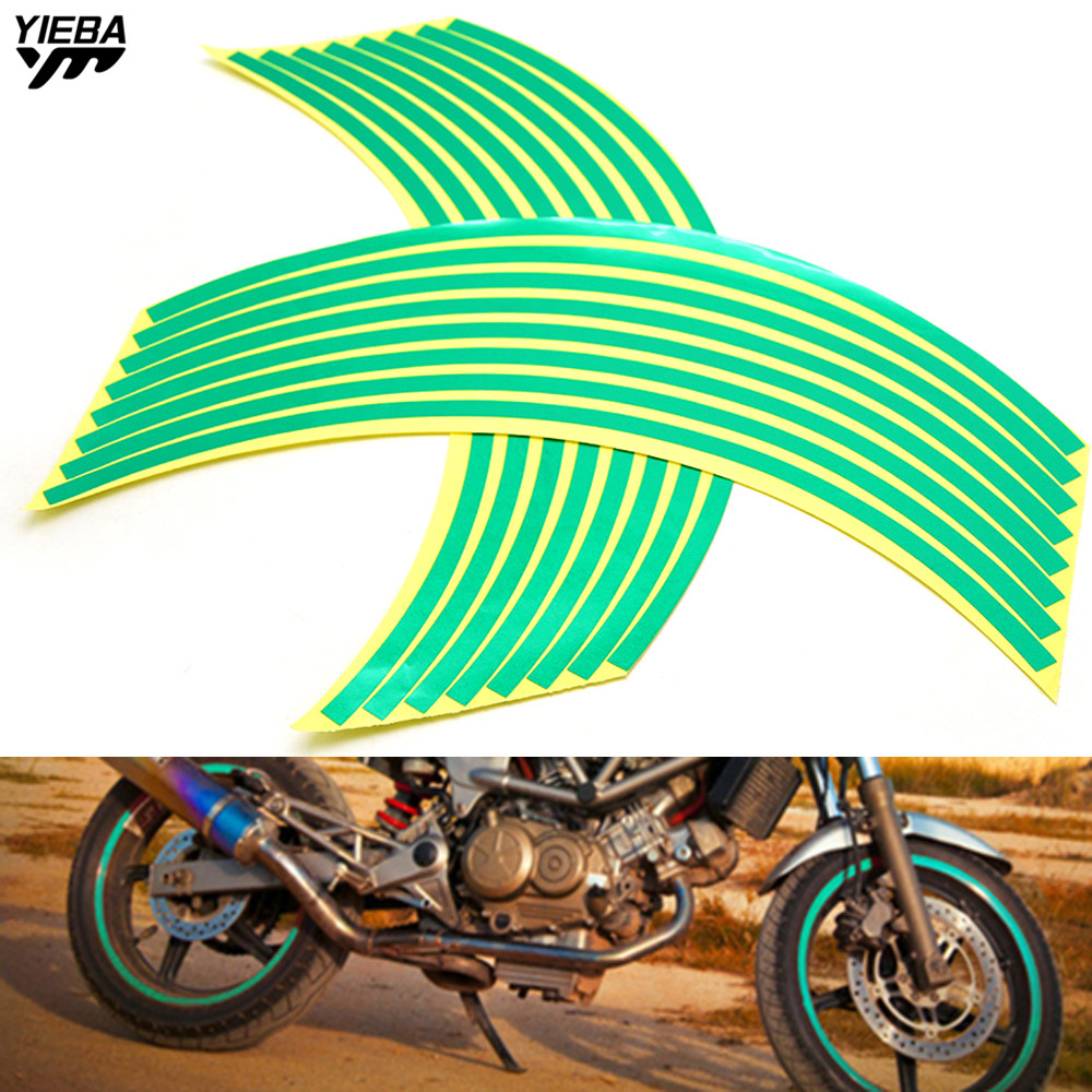 16 Strips Bike Motorcycle Car <font><b>Wheel</b></font> <font><b>Sticker</b></font> Tape 17 18inch For <font><b>YAMAHA</b></font> YZF R25 R15 <font><b>R6</b></font> R125 kawasaki z750 Z800 FZ8 FZ1 FZ6R z900 image