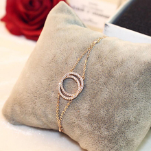 Fashionable Popular Double Bracelet Rose Gold Circles for Woman  Paved Layer Round Femaleacelets Christmas