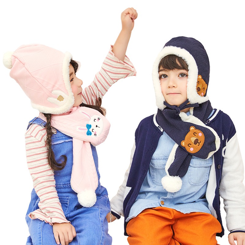 Kocotree Childrens Winter Hat And Scarf For 4 Colors Available Boys Girls Warm Hat Scarf Kids Cartoon Owl Beanies Cap Thickened