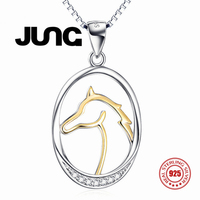 Fashion Sweet Charm AAA Zircon Horse 925 Sterling Silver Jewelry Delicate Chain Pendant Necklace Women Collier