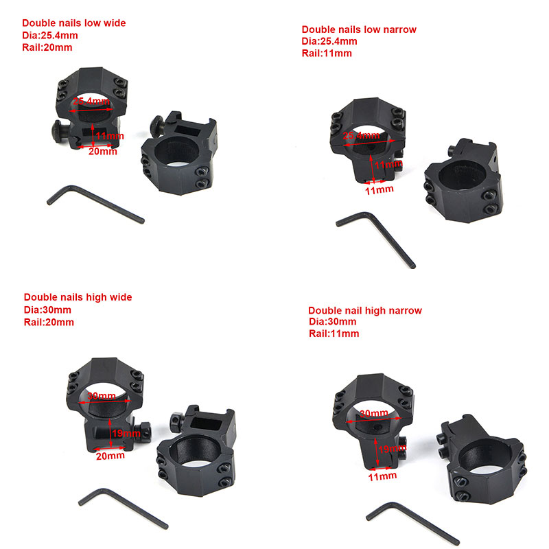 1Pair 25.4/30mm Riflescope Ring Weaver Rail Mount 11mm/20mm Dovetail Rail Base Adapter Hunting Accessories