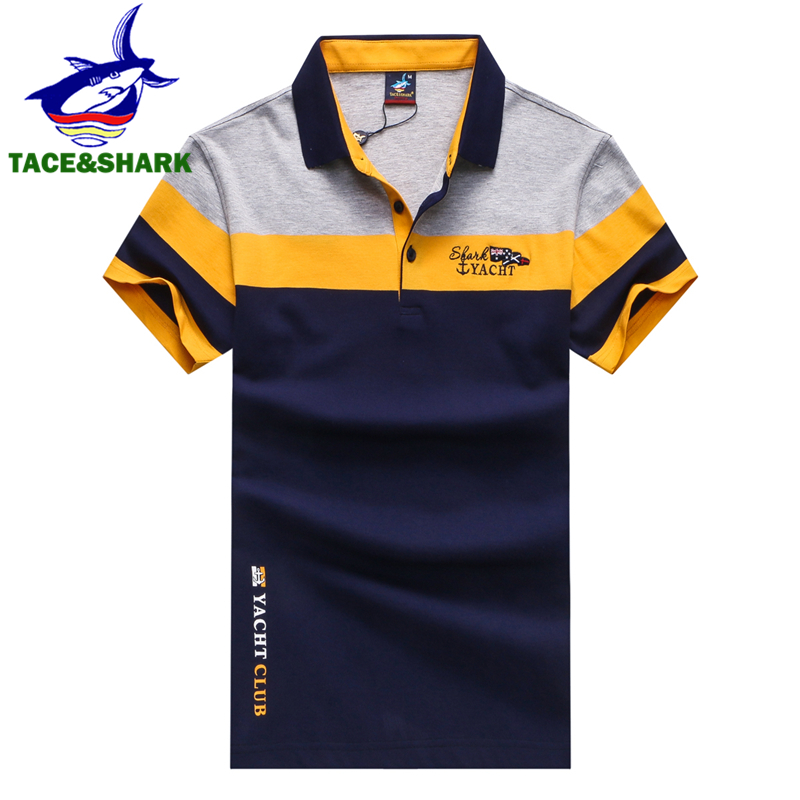TACE&SHARK Brand 2018 Fashion Personality Mens Shark Embroidery Polo Shirt Homme Yellow Red Polos Flag High Quality Clothing