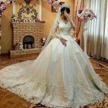 3667779df0cb6 2019 Long Sleeves Lace Gothic Ball Gown Wedding Dresses court train bridal  Vestidos De Novia Lace Applique Beads wedding gown