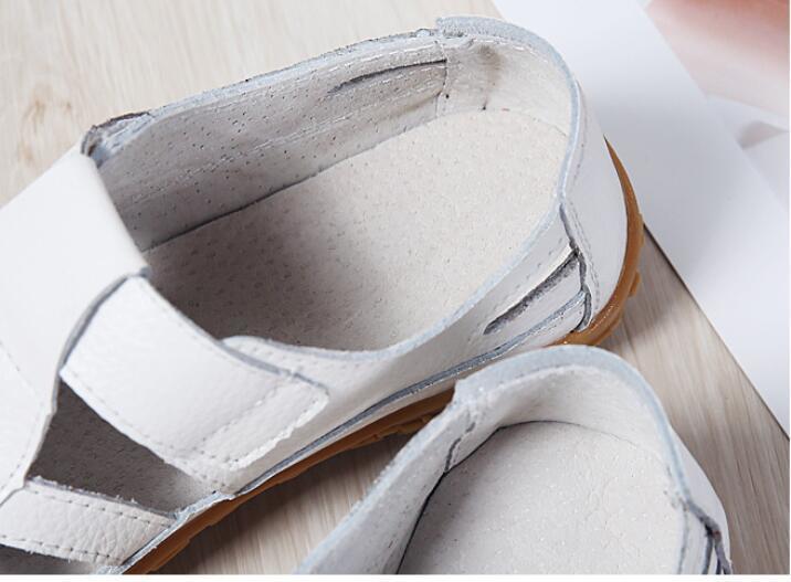 HTB1OzfNLsfpK1RjSZFOq6y6nFXam 2019 Women Gladiator Sandals Shoes Genuine Leather Hollow Flat Sandals Ladies Casual Soft Bottom Summer Shoes Women Beach Sandal