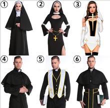Neue Liebhaber Polyester Maria Priest Halloween Maskerade Cosplay Jesus Christus Kostüm frau Schwarz Sexy Nonne Roben