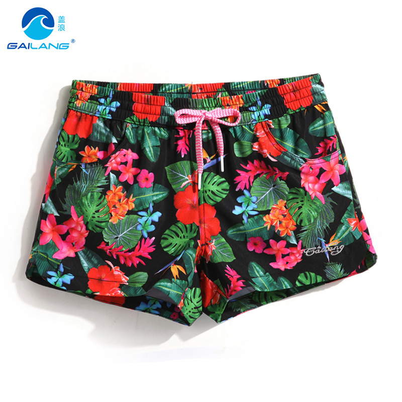 Gailang   board     shorts   women swimming   shorts   female sexy print flower quick dry praia holiday bermudas swimsuit beach   shorts   mesh