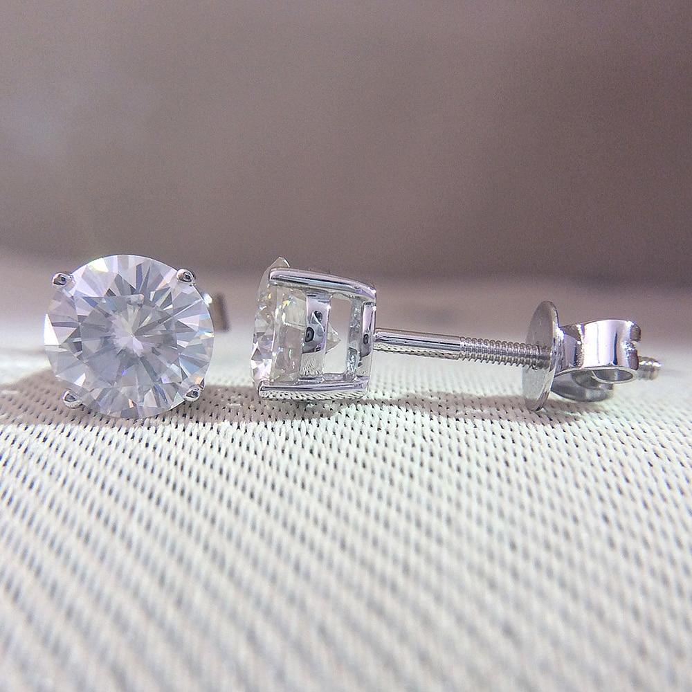 Genuine 14K 585 White Gold Screw Back DF Color 2ctw Test Positive Round Cut Moissanite Diamond