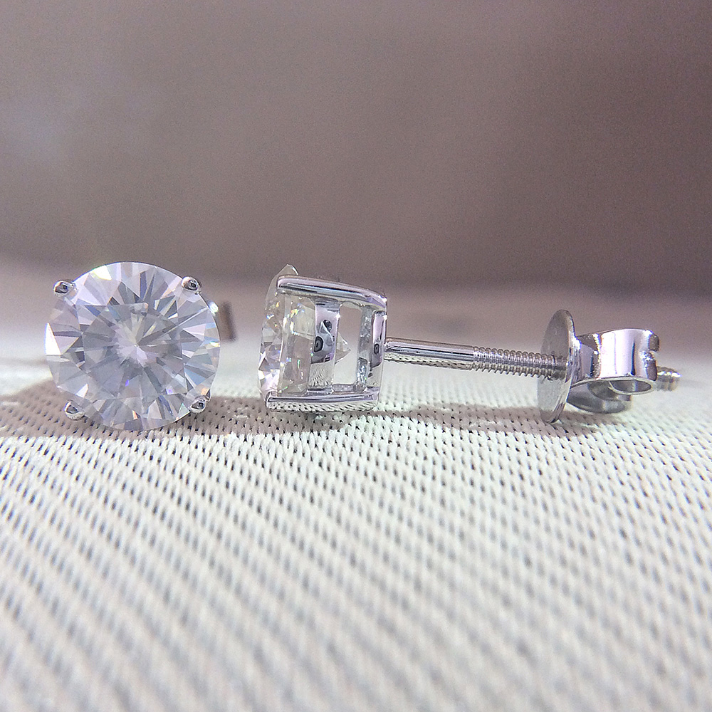 정품 14 k 585 화이트 골드 스크류 백 df 컬러 2ctw 테스트 긍정적 인 라운드 컷 moissanite 다이아몬드 귀걸이 여성을위한-에서귀걸이부터 쥬얼리 및 액세서리 의  그룹 1