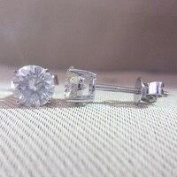Genuine 14K 585 White Gold Screw Back DF Color 2ctw Test Positive Round Cut Moissanite Diamond Earrings For Women