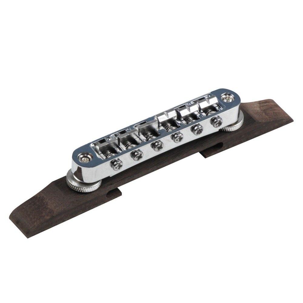 fleor tune o matic 6 strings jazz guitar bridge chrome metal rosewood base for guitar parts. Black Bedroom Furniture Sets. Home Design Ideas