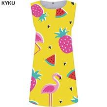 KYKU Crane Dress Women Animal Sexy Fruit Beach Yellow Office Pineapple Korean Style Vestido Womens Clothing Summer Ladies