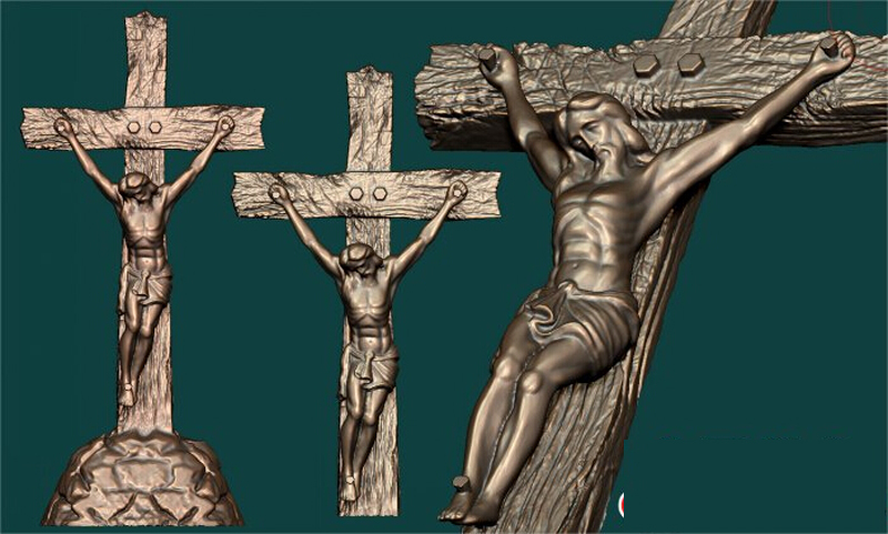 3d model relief for cnc in STL file format Cross Jesus crucifix cross 3d model relief figure stl format religion 3d model relief for cnc in stl file format
