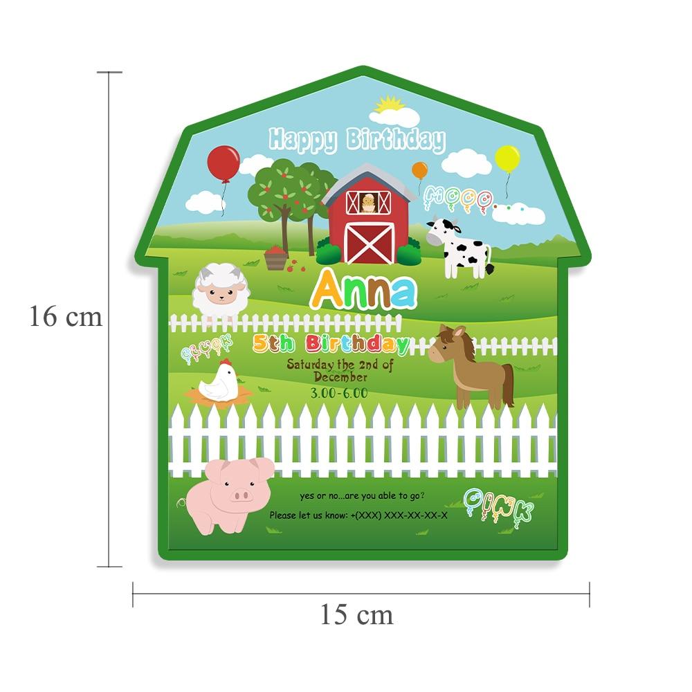 Farm Animals Invitations Card Birthday Party Supplies Decorations Kids Event