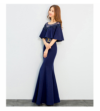 Beauty Emily Navy blue Evening Dresses Cloak Cape Drape Tunic Formal Celebrity Elegant Party Sheath Bodycon Dress Spring
