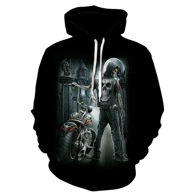New design stylish men's skull motorcycle 3d-printed hoodie, men's and women's personality rock sweatshirt casual thin hoodie