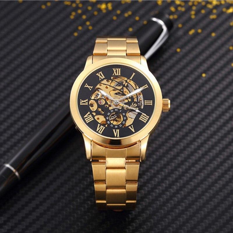 1ebf1c73ed3 Homem Relógios Mecânicos Automáticos dos homens de luxo moda Oco dial Ouro  Numeral Romano Relógio Casual relógio de Aço Inoxidável