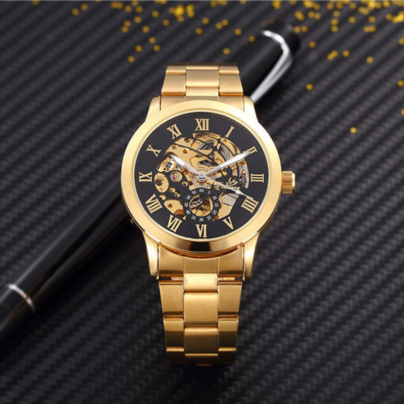 Man Watches Automatic font b Mechanical b font Watches men luxury fashion Hollow dial Gold Roman