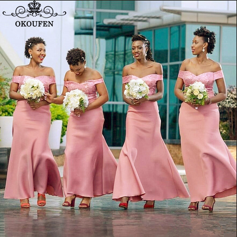 Pink Mermaid   Bridesmaid     Dresses   For Women Off Shoulder 2019 Wholesale Price Ankle Length Long Party   Dress   Maid Of Honor Gown