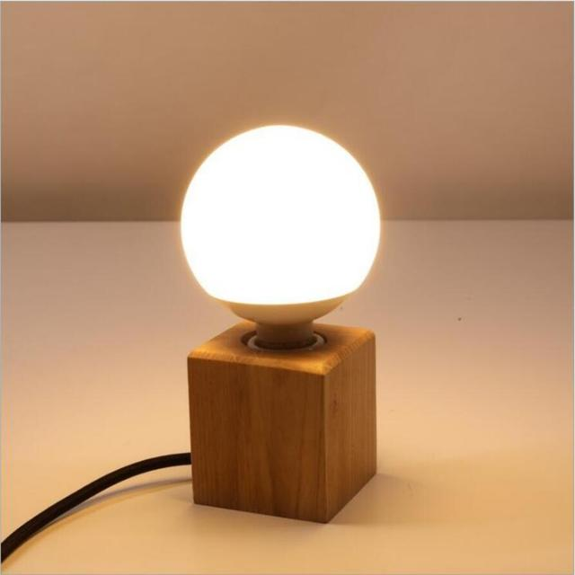 Us 15 32 44 Off Aliexpress Simple Art Solid Wood Small Desk Lamps Fashion E27 Bulb Led Bedroom Study Decoration Z50