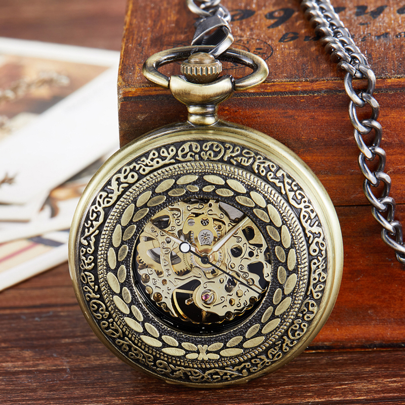Harvest Symbol Mechanical Pocket Watch Steampunk Skeleton Hand-wind No Need Battery Fob Watch With Chain For Men Women