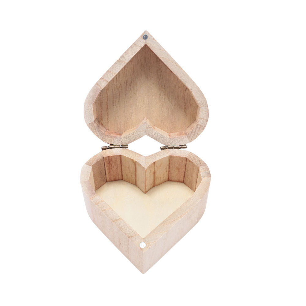 1 Pc Liebe Herz Form Diy Schlamm Basis Schmuck Box Multifunktionale Holz Kunst Dekor Geschenk Box Rangement Bijoux Organizador De Joyas