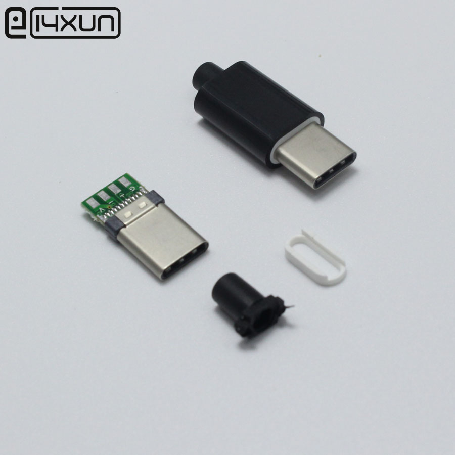 1 USB <font><b>3</b></font>.1 Type C Male <font><b>jack</b></font> Plug Welding Type USB-C <font><b>3</b></font> in 1 PCB Connector For Apple iPhone <font><b>5</b></font> ipad ect Black image