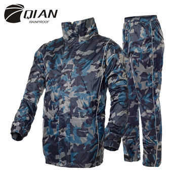 QIAN RAINPROOF Professional Adult Outdoor Raincoat Thicker Heavy Water Gear Fashionable Sportswear Waterproof Rainsuit