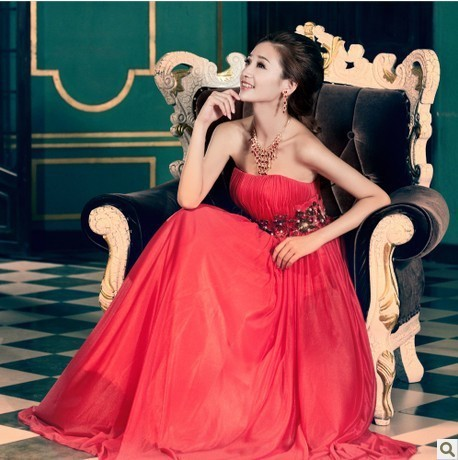 2013 new red strapless bridesmaid dress free shipping