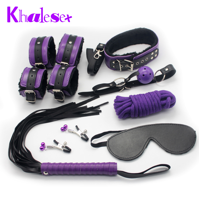 Khalesex 8 Pcs Set Adult Bondage Sex Toys for Woman Fetish Restraint Foot Handcuffs Ball Gag Nipple Clamps Whip Sex Product Shop adult games 8 in 1 pink bondage kit set neck collar whip ball gag handcuffs rope eye mask fur sex fetish toy