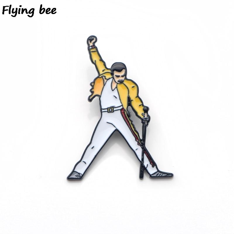 Flyingbee Freddie Mercury Brooch Rock Style Enamel Pins For Women Men Backpack Badge Personality Hat Pin Charm Jewelry X0136