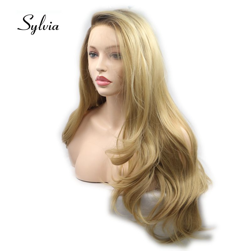 Sylvia Long Mixed Blonde Wigs Body Wave Hair For Women Synthetic Lace Front Wig With Brown