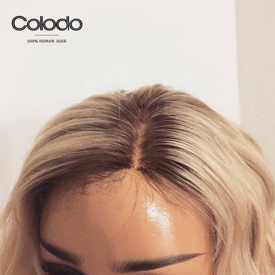 COLODO Önceden Koparıp 13X4 Remy Brezilyalı 613 Dantel ön peruk Bebek Saç Ile Gri Kısa Dalgalı Bob Dantel Ön İnsan saç Peruk Kadınlar için
