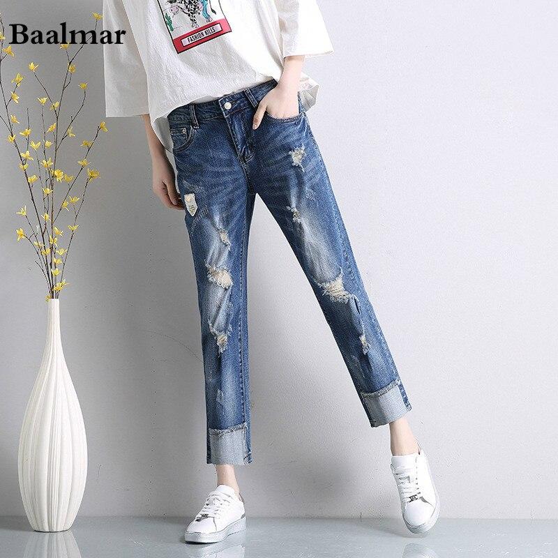 Shop2517008 Store Baalmar 2017 Women Jeans Cotton Ripped Women's Hole Jeans Ankle-length Harem Pants Ladies Zipper High Waist Loose Jeans
