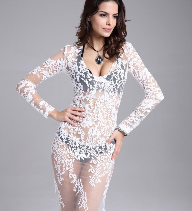 Průhledná žádná podšívka Sexy perspektivní šaty Výšivky bílá krajka pláž délka podlahy šaty vestidos pro lásku citrony šaty