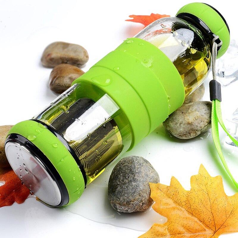 450 ml Kreatif Labu botol Olahraga Kaca tahan Panas dengan Saringan - Dapur, ruang makan, dan bar - Foto 5