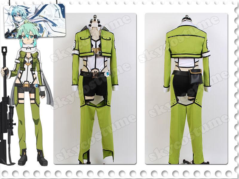 Sword Art Online Gun Gale SAO/GGO Shino Asada/Sinon Outfit Cosplay Costume Suit Halloween Carnival Full Set