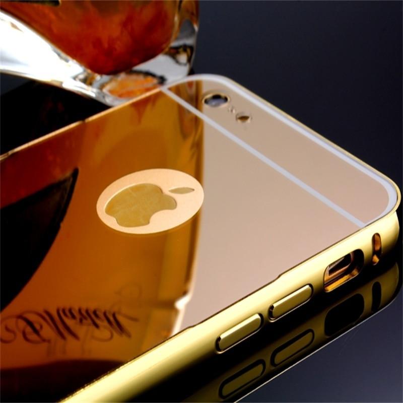 Xinchentech para iphone 6 / 6S Funda espejo de lujo metal aluminio + - Accesorios y repuestos para celulares