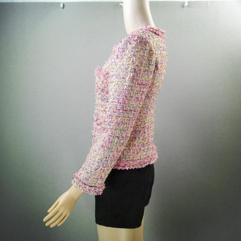 Top Brand 2019 Nieuwe Mode Vrouwen Tweed Korte Jas Slim Fit Twill Getrimd Vrouwelijke Uitloper Jas Formele Partij Elegante Dame jassen - 6