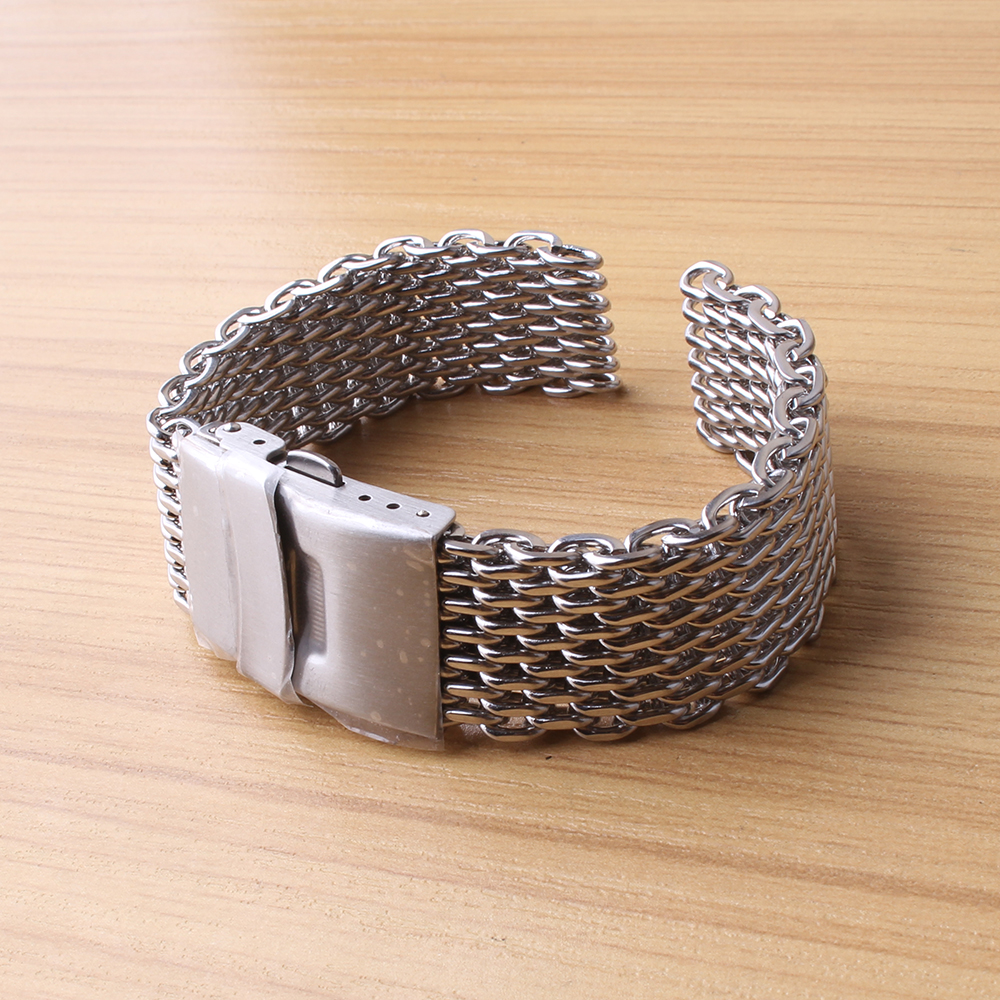 Watchbands 18MM 20MM 22MM 24MM Silver stainless steel loose links mesh watch strap bracelets safety buckle folding clasp special loose stainless steel silver shark mesh watchband bracelets special end safety buckle 18mm 20mm 22mm 24mm promotion men s straps
