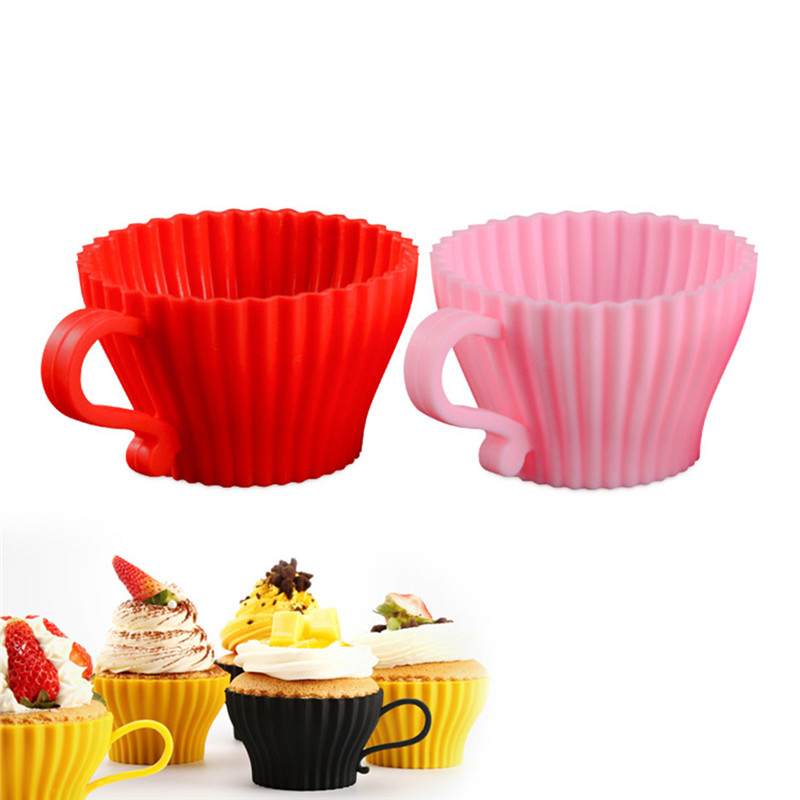 New Silicone Mold Cake Cup Muffin Tart Round Reusable Baking Molds  Cup(Random Color)