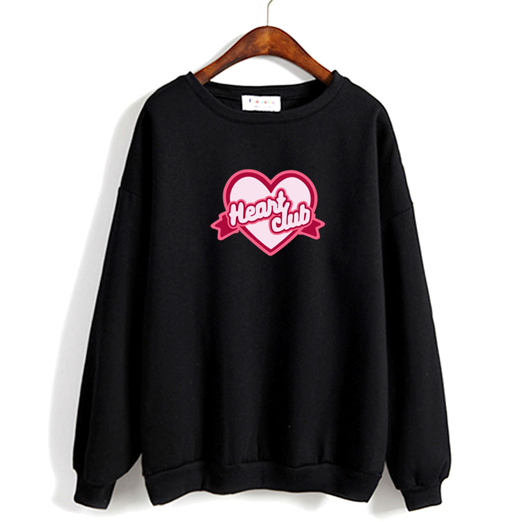 Spring autumn kpop red velvet heart club printing o neck